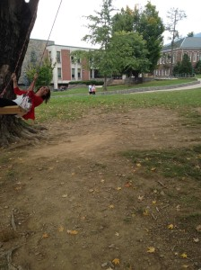 Swinging on Sanford lawn!
