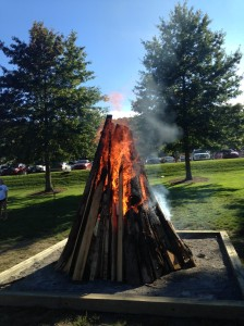 The beginning of our huge bonfire!