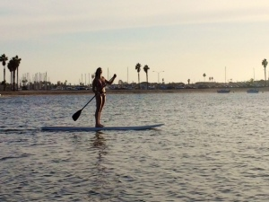 Paddle boarding in Mission Bay