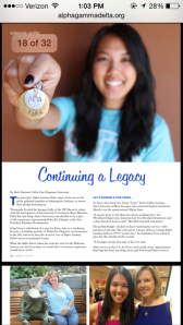 So proud of Kara (one of the members here) for being featured in the Alpha Gamma Delta Quarterly!